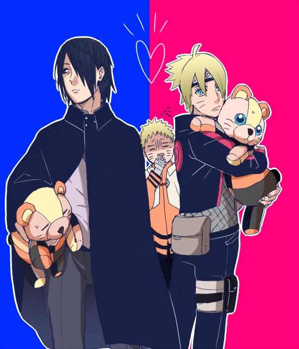 Tags: Anime, Sakuraba Chizuru, BORUTO: Naruto Next Generations, NARUTO, Uzumaki Boruto, Uchiha Sasuke, Uzumaki Naruto, Orange Outerwear, Twitter, Fanart, PNG Conversion
