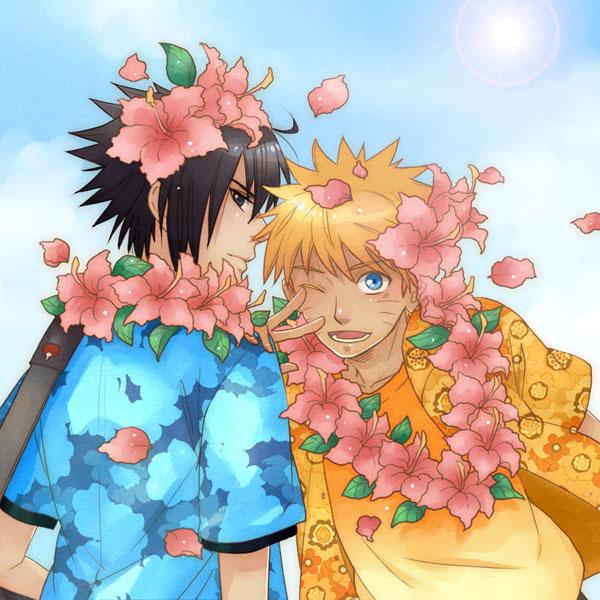 Tags: Anime, Shiho, NARUTO, Uchiha Sasuke, Uzumaki Naruto, Flower Necklace, Fanart, Pixiv, Jinchuuriki, NaruSasu