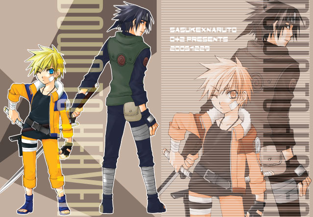 Tags: Anime, Wadatsumi Kurena, Miyata Mako, NARUTO, Uchiha Sasuke, Uzumaki Naruto, Text: Couple Name, Fanart, Collaboration, Jinchuuriki, NaruSasu