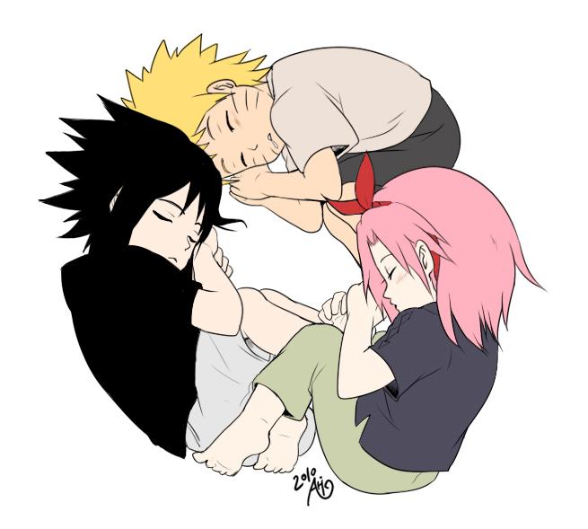 Tags: Anime, NARUTO, Haruno Sakura, Uchiha Sasuke, Uzumaki Naruto, Fetal Position, Jinchuuriki