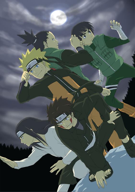 Tags: Anime, Pixiv Id 945241, NARUTO, Nara Shikamaru, Rock Lee, Uzumaki Naruto, Inuzuka Kiba, Hyuuga Neji, Mobile Wallpaper, Jinchuuriki