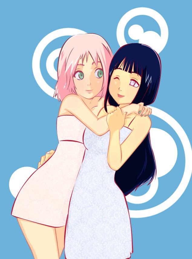 Tags: Anime, Gabzilla, NARUTO, Hyuuga Hinata, Haruno Sakura, Hug Neck, deviantART, Fanart, SakuHina