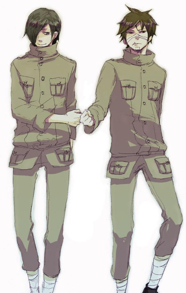 Tags: Anime, NARUTO, Hagane Kotetsu, Kamizuki Izumo, Matching Outfits, Glaring, Bro Fist