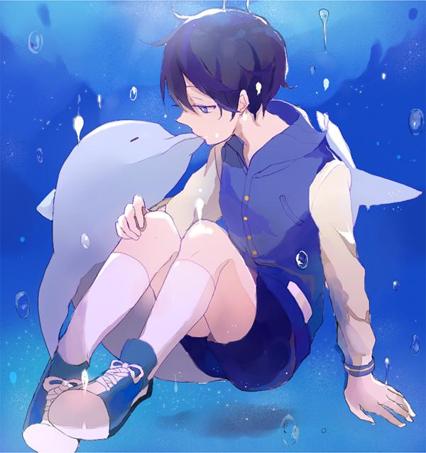 Tags: Anime, Pixiv Id 6116320, Free!, Nanase Haruka (Free!), Chucks (Shoes), Dolphin, Fanart, Fanart From Pixiv, Pixiv