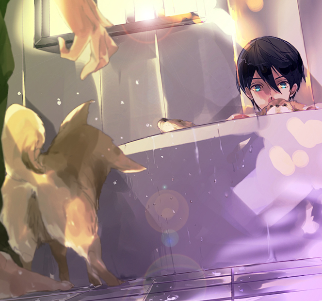 Tags: Anime, Nini (iskha), Free!, Tachibana Makoto, Nanase Haruka (Free!), Bathroom, Fanart, Fanart From Pixiv, Pixiv