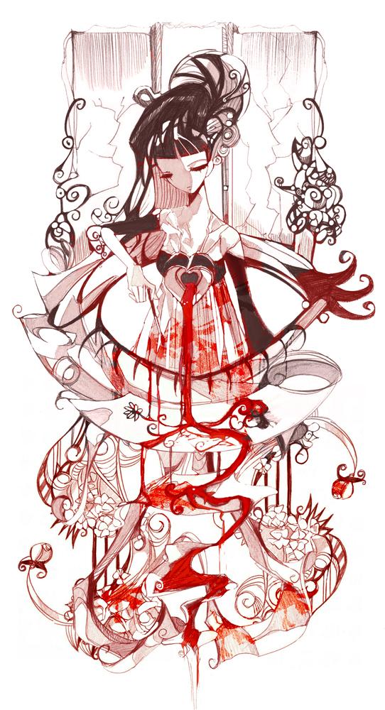 Tags: Anime, Nanomortis, Hole, Railing, Daisy (Flower), Broken Glass, Mobile Wallpaper, deviantART, Original
