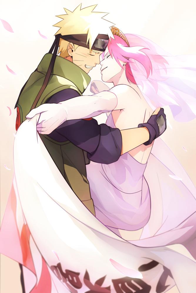 Tags: Anime, Min Tosu, NARUTO, Uzumaki Naruto, Haruno Sakura, Pink Handwear, Pink Gloves, Fanart, Mobile Wallpaper, Pixiv, Fanart From Pixiv, NaruSaku