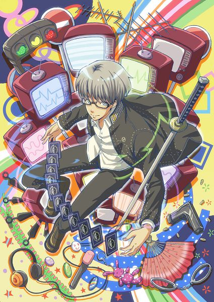 Tags: Anime, yotsueito, Shin Megami Tensei: PERSONA 4, Narukami Yu, Card (Object), Handcuffs, Traffic Light