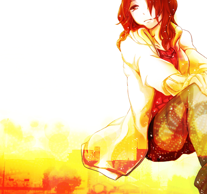 Tags: Anime, Pixiv Id 2024780, Tonari no Kaibutsu-kun, Natsume Asako, Glowing Background, Orange (Color), Fanart, Fanart From Pixiv, Pixiv