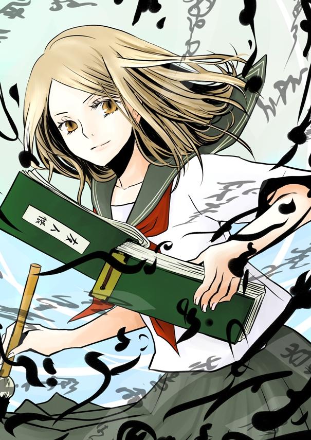 Tags: Anime, Yusorate, Natsume Yuujinchou, Natsume Reiko, Writing, Painting (Action), Fanart, Mobile Wallpaper, Pixiv