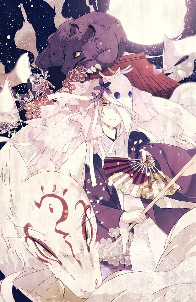 Tags: Anime, Pixiv Id 3390462, Natsume Yuujinchou, Madara, Natsume Takashi, Deer Mask, Houzukigami (Cosplay), Mobile Wallpaper, Pixiv, Natsume's Book Of Friends