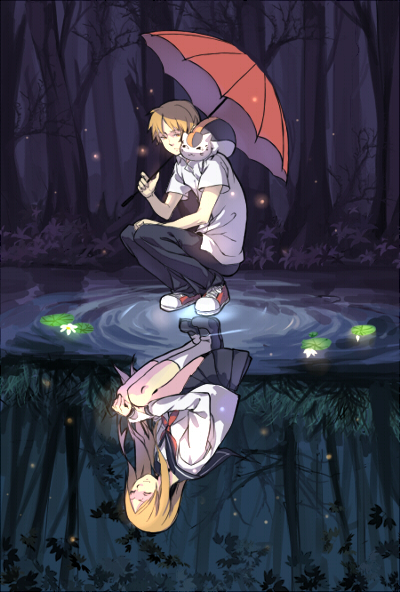 Tags: Anime, Light Kiseki, Natsume Yuujinchou, Nyanko-sensei, Natsume Reiko, Natsume Takashi, Grandson, Grandmother, Fireflies, Grandmother And Grandson, Different Reflection, Lily Pads, Fanart, Natsume's Book Of Friends