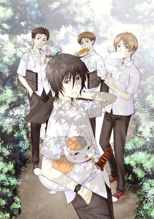 Tags: Anime, Rei (Mtd), Natsume Yuujinchou, Kitamoto Atsushi, Nyanko-sensei, Nishimura Satoru, Tanuma Kaname, Natsume Takashi, Pixiv, Fanart, Mobile Wallpaper, Natsume's Book Of Friends