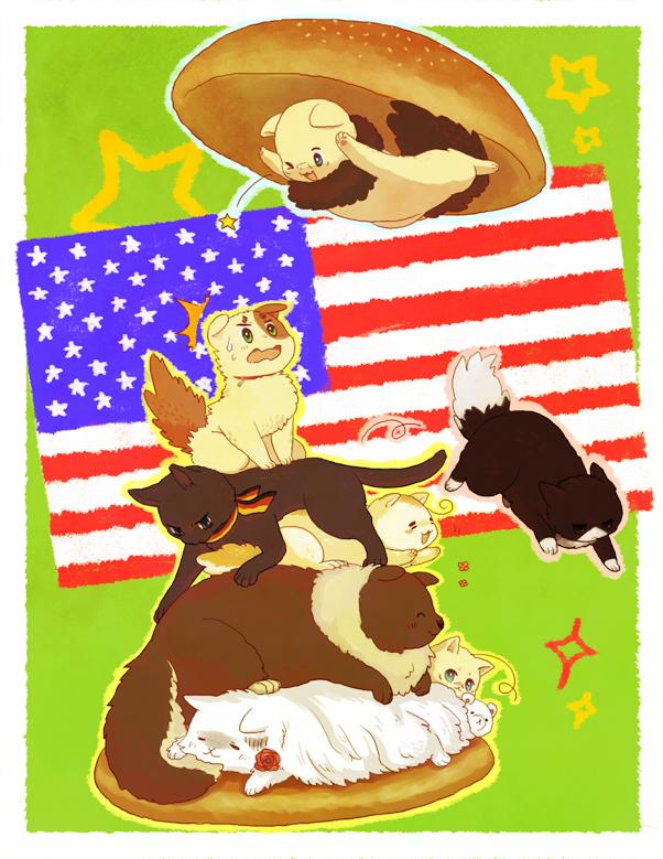 Tags: Anime, Pixiv Id 1176730, Axis Powers: Hetalia, Americat, Italycat, Canacat, Germancat, Kumajirou, Russiacat, Japancat, Iggycat, Francecat, Fanart