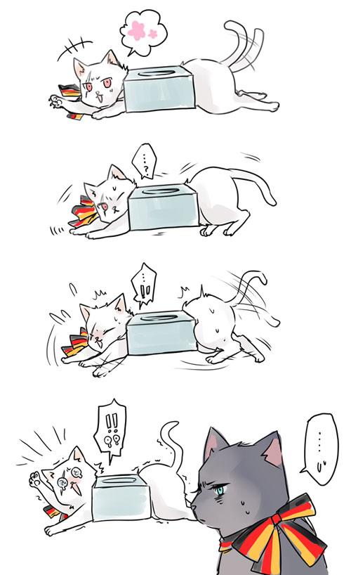 Tags: Anime, Ryouko (Lovelovela), Axis Powers: Hetalia, Germancat, Prusscat, Nekotalia, Mobile Wallpaper, Comic