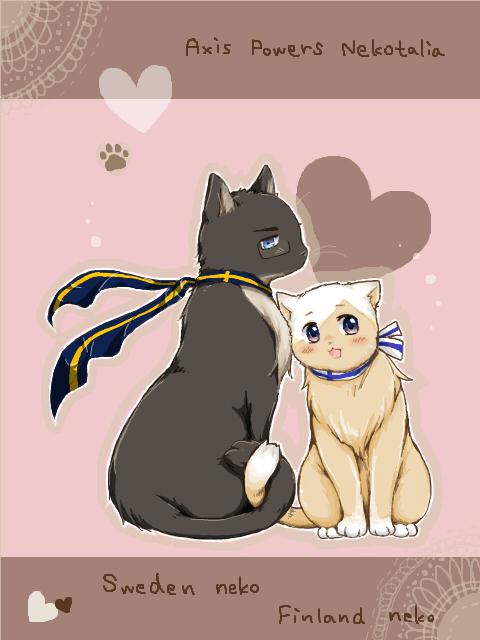 Tags: Anime, -Daidai-, Axis Powers: Hetalia, Finlandcat, Swedencat, Fanart, Tegaki, PNG Conversion, Nekotalia, SuFin