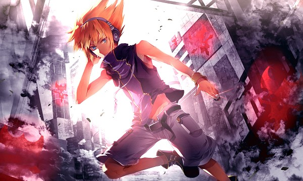 Tags: Anime, Sunakumo, Subarashiki Kono Sekai, Neku Sakuraba, City, Running