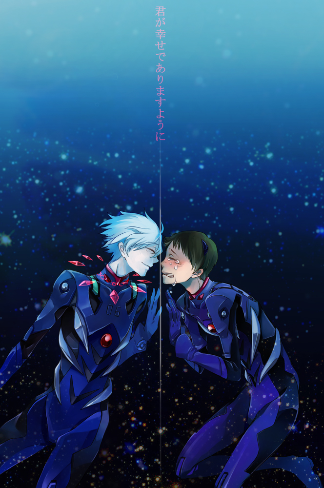 Tags: Anime, Pixiv Id 29223, Neon Genesis Evangelion, Nagisa Kaworu, Ikari Shinji, Touching Through Barrier, Fanart, Pixiv, Mobile Wallpaper, KawoShin