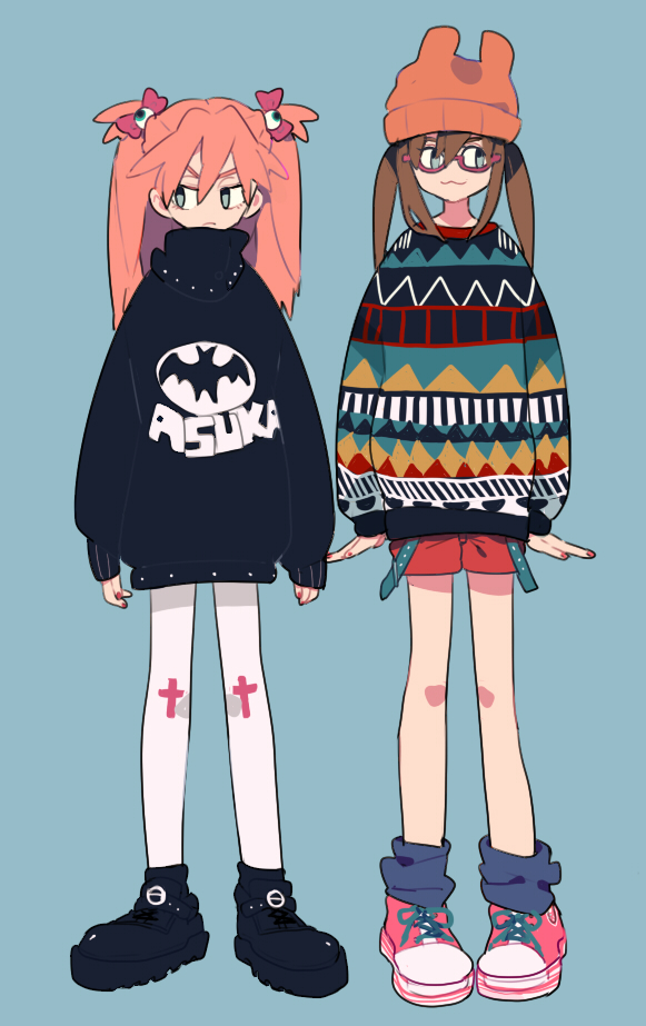 Tags: Anime, Pikaro, Neon Genesis Evangelion, Makinami Mari Illustrious, Souryuu Asuka Langley, Under Rim Glasses, Pixiv, Mobile Wallpaper, Fanart