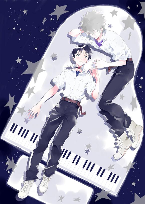 Tags: Anime, Pixiv Id 5637124, Neon Genesis Evangelion, Ikari Shinji, Nagisa Kaworu, Pinky Promise, Fanart From Pixiv, Fanart, Pixiv, Mobile Wallpaper, KawoShin