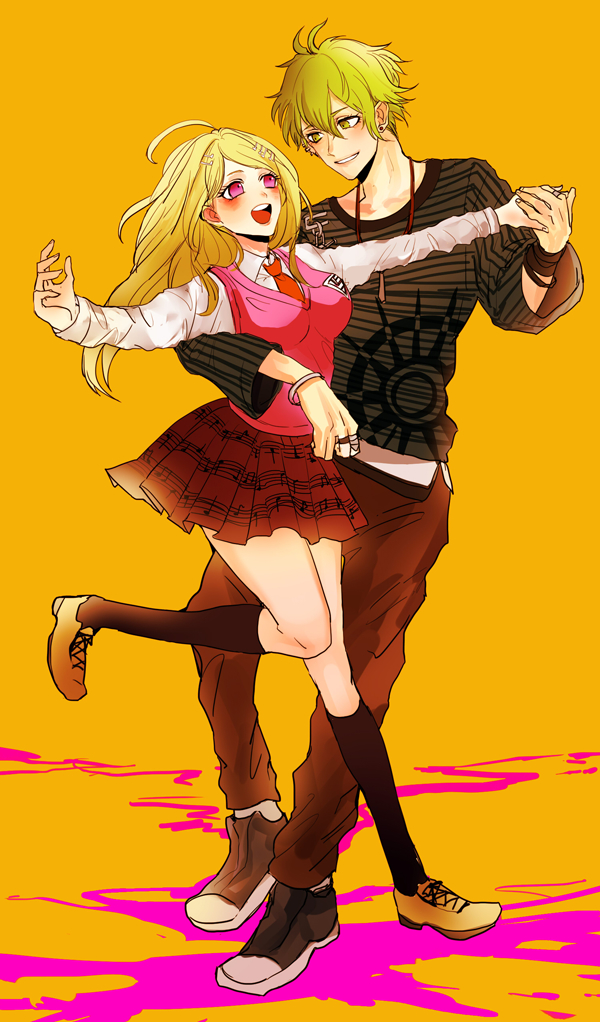 Tags: Anime, Pixiv Id 22357615, New Danganronpa V3, Amami Rantarou, Akamatsu Kaede, Unusual Colored Blood, Fanart From Pixiv, PNG Conversion, Mobile Wallpaper, Pixiv, Fanart, Danganronpa V3: Killing Harmony
