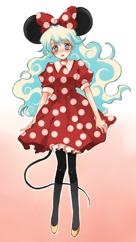 Tags: Anime, Dameaki, Tengen Toppa Gurren-Lagann, Nia Teppelin, Minnie Mouse (Cosplay), Fanart, Pixiv, Mobile Wallpaper