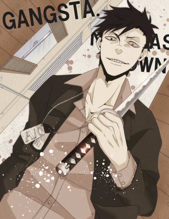 Tags: Anime, GANGSTA., Nicholas Brown, Creepy Smile, Pixiv, Fanart