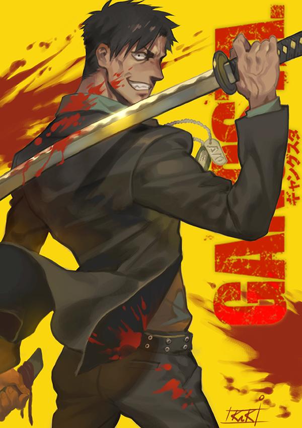 Tags: Anime, kakiman, GANGSTA., Nicholas Brown, Blood On Weapons, Pixiv, Fanart, Mobile Wallpaper, Fanart From Pixiv