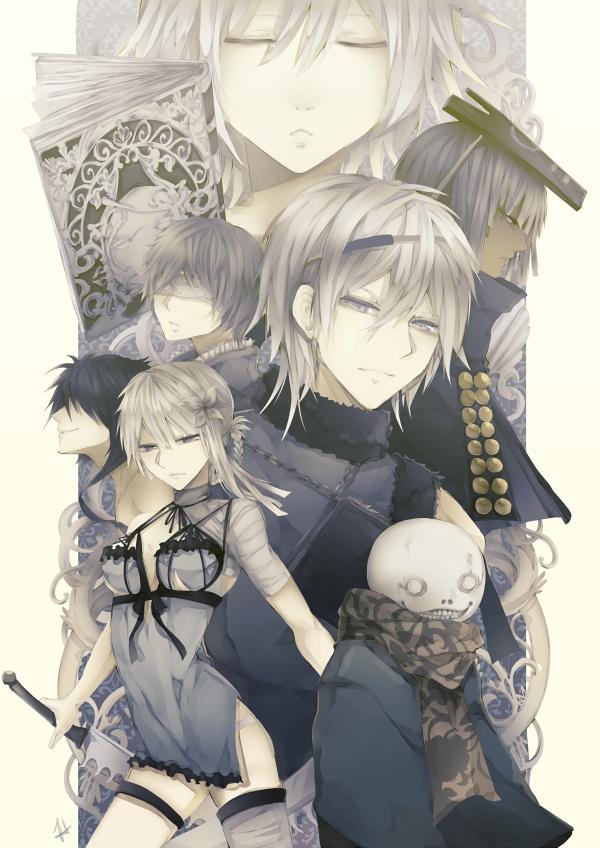 Tags: Anime, Eyliant (Artist), NieR, King of Façade (NieR), Nier (Character), Tyrann, Grimoire Weiss, Kaine, Emil (NieR), Yonah, Mobile Wallpaper, deviantART