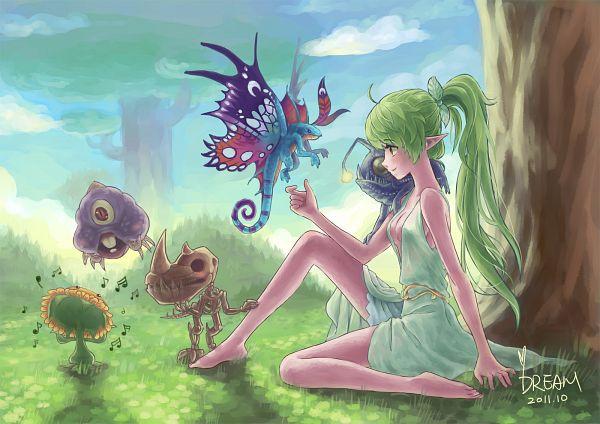 Tags: Anime, Dreamyyn, Warcraft, Night Elf, Green Dress, Green Outfit, Purple Skin