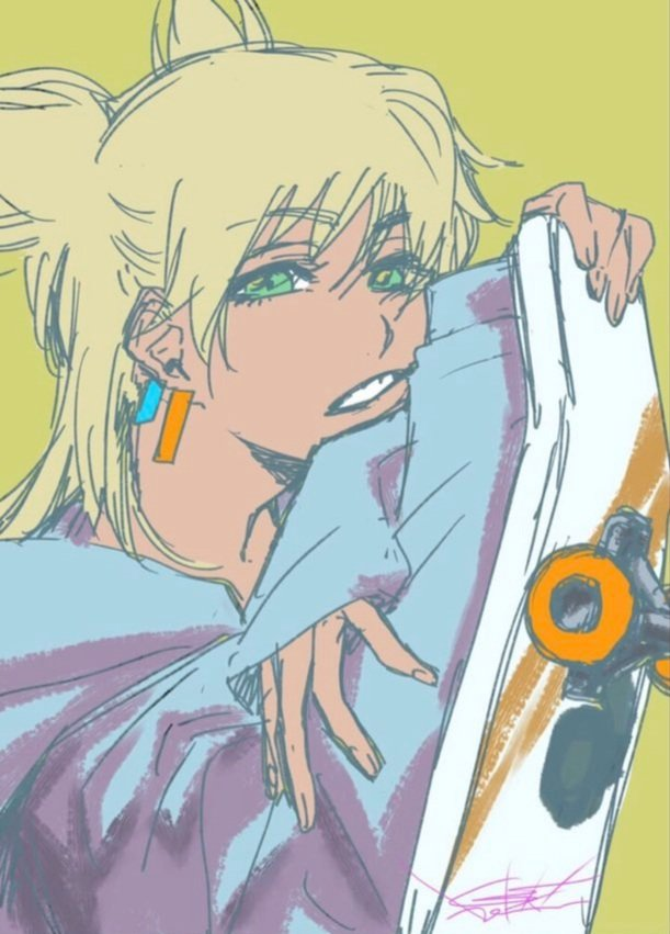 Tags: Anime, Kubo Tite, BURN THE WITCH, Ninny Spangcole, Skateboard, Official Art