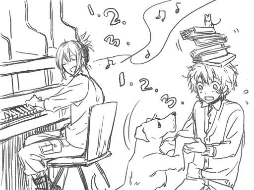 Tags: Anime, Pixiv Id 1395202, No.6, Shion (No.6), Nezumi (No.6), Playing Piano, Sketch, Fanart, Pixiv