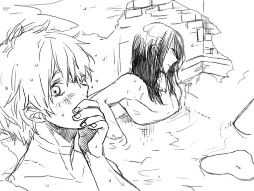 Tags: Anime, Pixiv Id 1395202, No.6, Nezumi (No.6), Shion (No.6), Sitting In Water, Chest, Pixiv, Sketch, Fanart