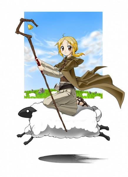 Tags: Anime, Ookami to Koushinryou, Nora Arendt, Sheep, Grass