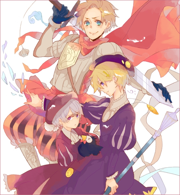 Tags: Anime, Wakoku Nito, Axis Powers: Hetalia, Denmark, Iceland, Mr. Puffin, Norway, Upscale, Puffin, Pixiv, Nordic Countries