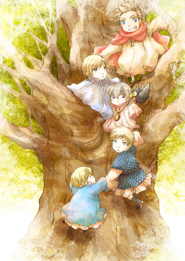 Tags: Anime, Axis Powers: Hetalia, Denmark, Iceland, Norway, Finland, Sweden, Climbing, Mobile Wallpaper, Nordic Countries