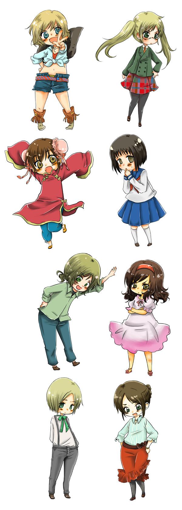 Tags: Anime, Pixiv Id 797896, Axis Powers: Hetalia, Liechtenstein (Male), China (Female), Japan (Female), South Italy (Female), United Kingdom (Female), Spain (Female), United States (Female), Hungary (Male), Nyotalia, Pixiv