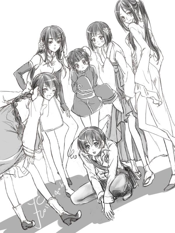 Tags: Anime, Yc, Axis Powers: Hetalia, Taiwan (Male), China (Female), Macau (Female), Thailand (Female), Japan (Female), Hong Kong (Female), Korean Clothes, Hanbok, Nyotalia, Axis Power Countries