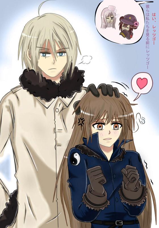 Tags: Anime, Axis Powers: Hetalia, China (Female), Belarus (Male), Russia (Female), South Korea (Female), Nyotalia, Mobile Wallpaper, Translation Request