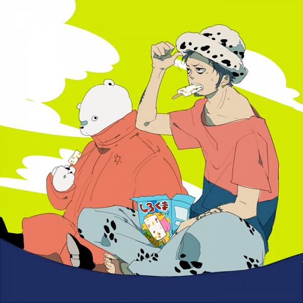Tags: Anime, Pixiv Id 3106986, ONE PIECE, Trafalgar Law, Bepo, Polar Bear, Ice Cream