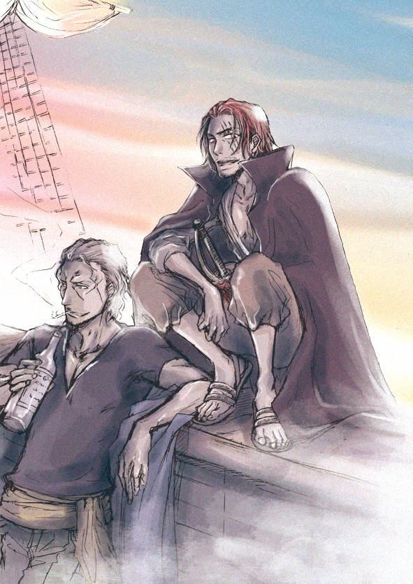 Tags: Anime, Pixiv Id 5178606, ONE PIECE, Shanks, Ben Beckman, Silvers Rayleigh, Pixiv, Fanart From Pixiv, Fanart, Mobile Wallpaper, Red Hair Pirates