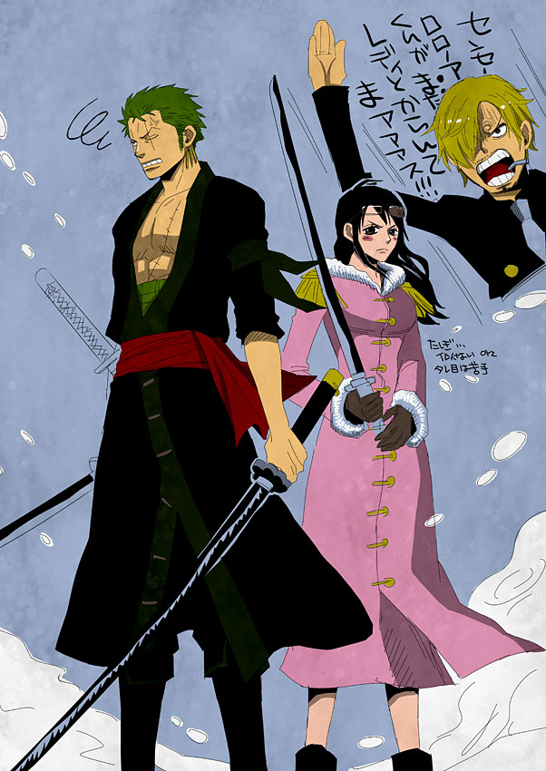 Tags: Anime, Chemise Rouge, ONE PIECE, Roronoa Zoro, Sanji, Tashigi, Fanart, Fanart From Pixiv, Pixiv, One Piece: Two Years Later, Mobile Wallpaper, Marine (ONE PIECE)