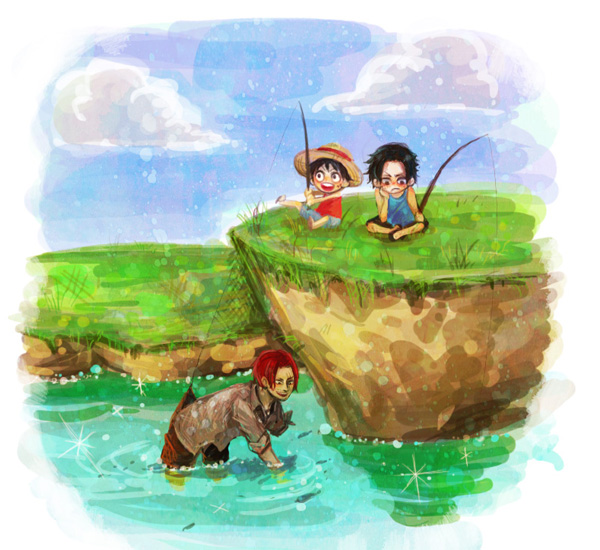 Tags: Anime, Guriko (Artist), ONE PIECE, Monkey D. Luffy, Portgas D. Ace, Shanks, Hill, Cliff, Fishing, Fishing Rod, Fanart From Pixiv, Pixiv, Fanart