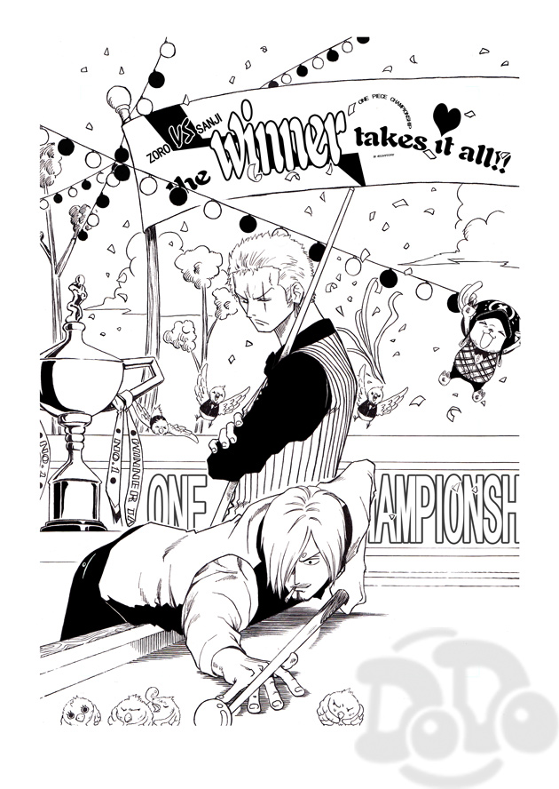 Tags: Anime, Pixiv Id 408194, ONE PIECE, Tony Tony Chopper, Roronoa Zoro, Sanji, Fanart From Pixiv, Pixiv, Fanart, Mobile Wallpaper, ZoSan