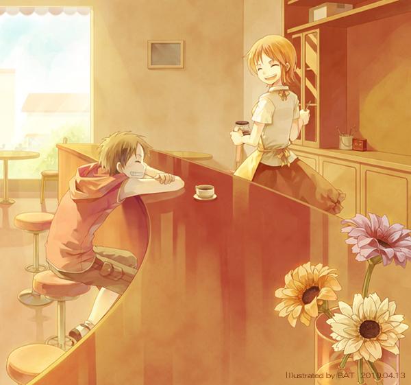 Tags: Anime, Bat (mangaka), ONE PIECE, Monkey D. Luffy, Nami (ONE PIECE), Vase, Cafeteria, Fanart From Pixiv, Fanart, Pixiv