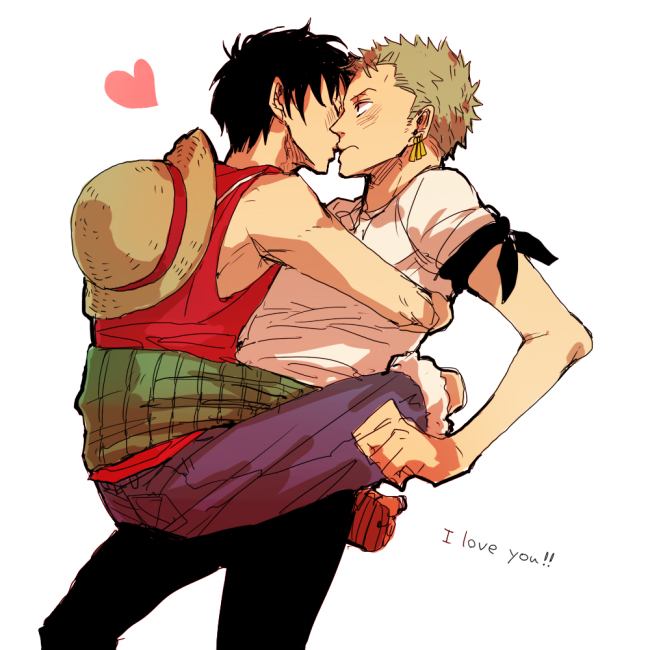 Tags: Anime, Crimson11, ONE PIECE, Monkey D. Luffy, Roronoa Zoro, Surprise Kiss, Text: I Love You, Pixiv, Fanart, Fanart From Pixiv, Sketch, ZoLu