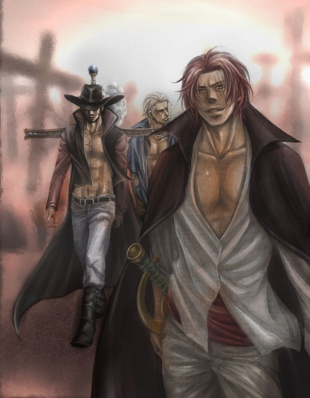 Tags: Anime, Chemise Rouge, ONE PIECE, Ben Beckman, Shanks, Dracule Mihawk, Smoker (ONE PIECE), Kokuto Yoru, Red Hair Pirates, Shichibukai, Marine (ONE PIECE)