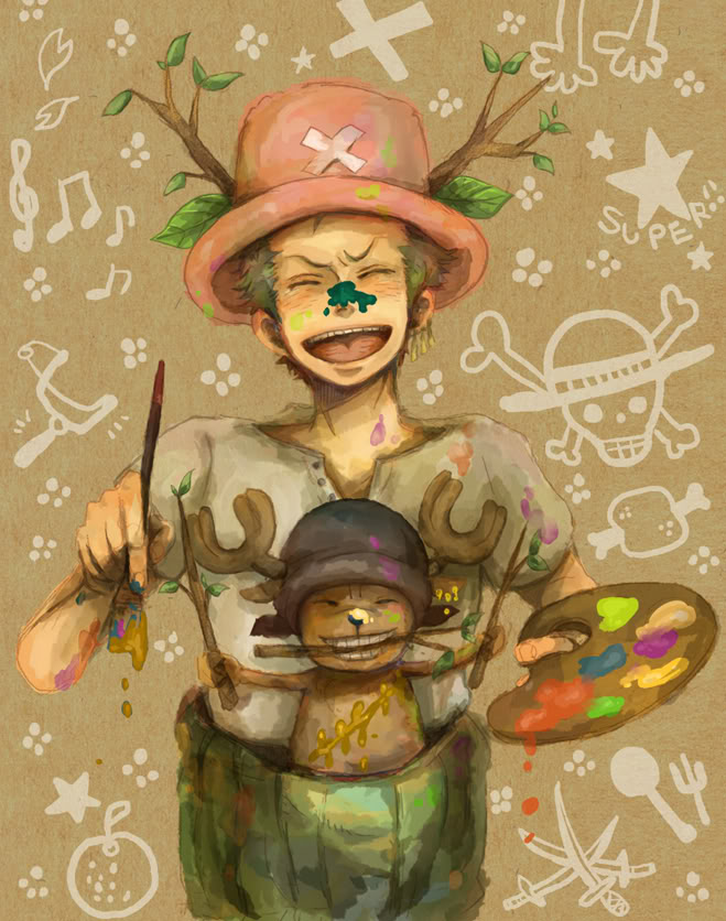 Tags: Anime, Sano, ONE PIECE, Roronoa Zoro, Tony Tony Chopper, Painting (Action), The Eleven Supernovas, Straw Hat Pirates