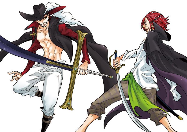 Tags: Anime, ONE PIECE, Shanks, Dracule Mihawk, Fighting, Open Shirt