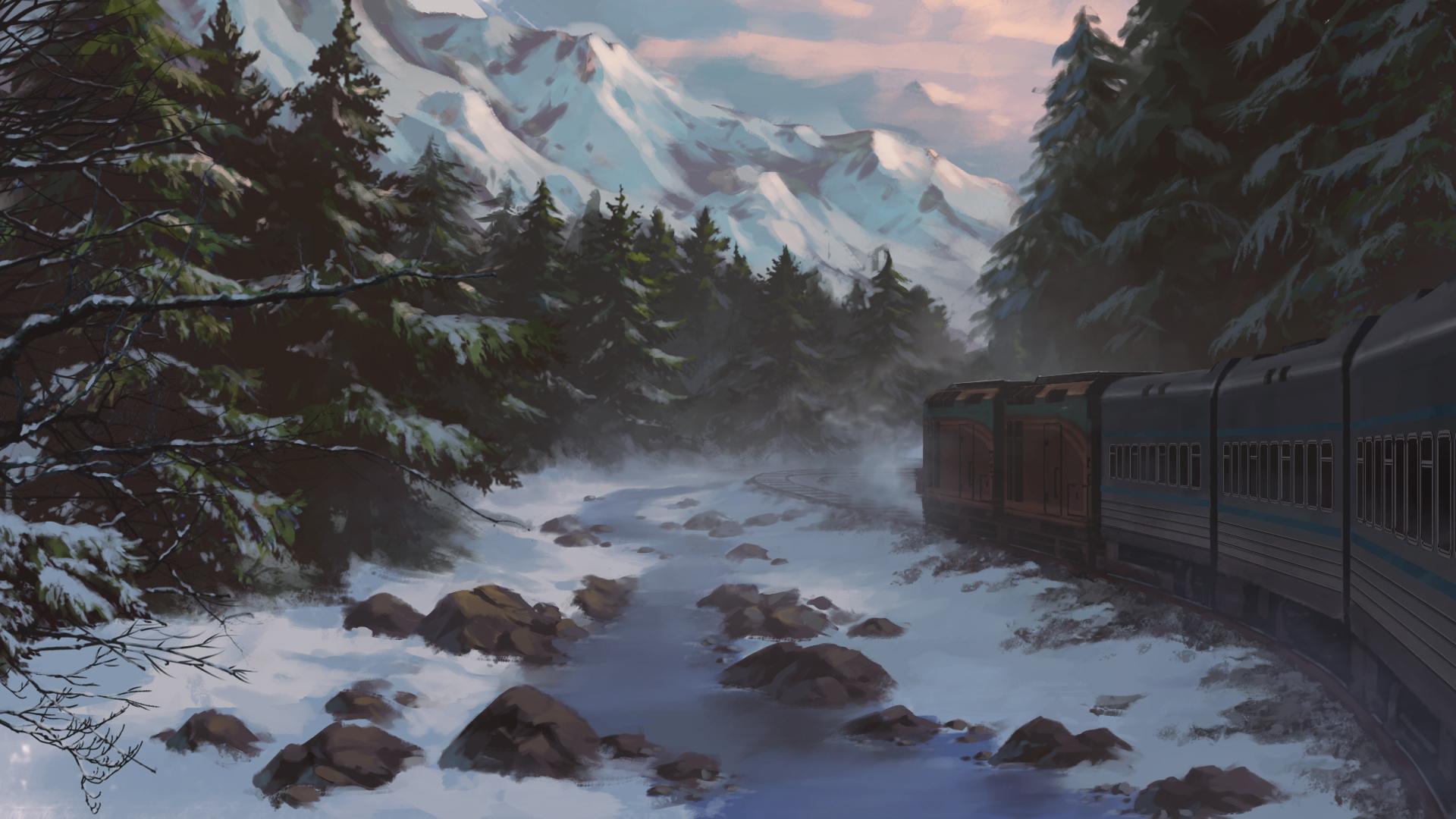 Зимний пейзаж картинки аниме